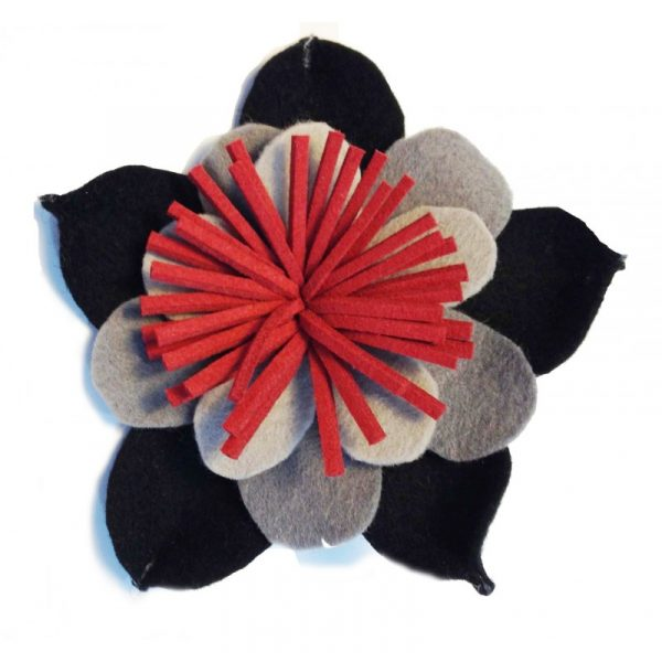Broches de flores de fieltro rojo