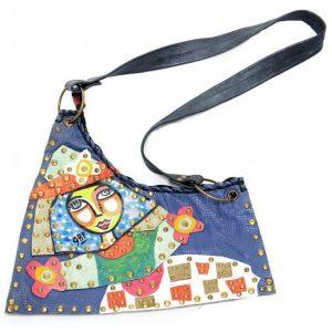 Bolso artesanal de cuero, Colombina