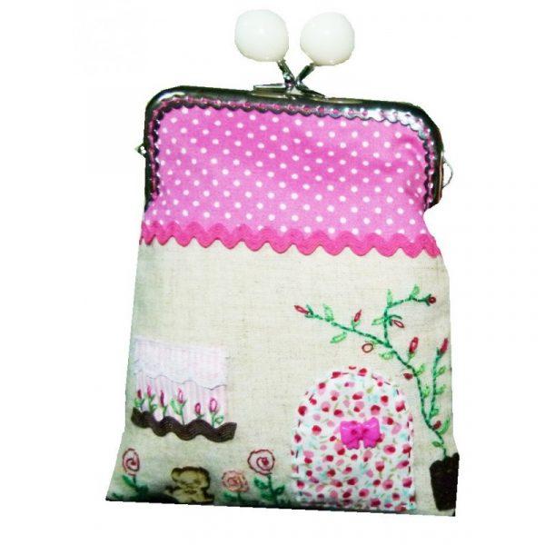Bolso de tela con boquilla, casa rosa