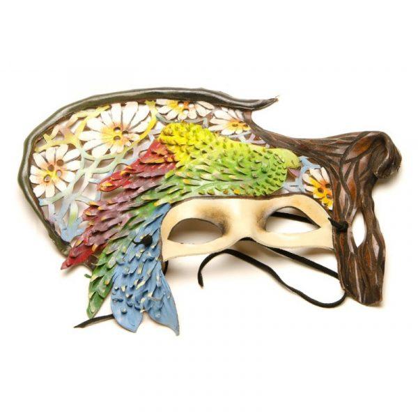 Máscara de carnaval guacamayo verde y rojo