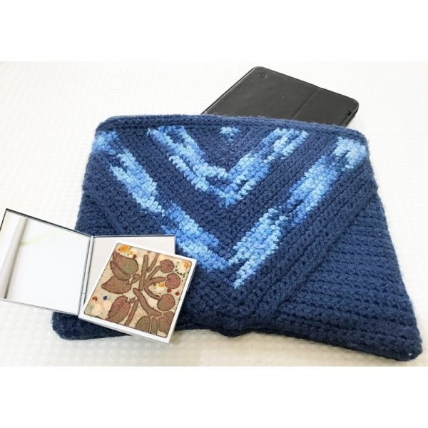 Cartera de Lana Jaspeada Azul